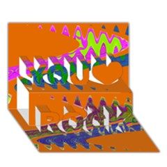 Colorful Wave Orange Abstract You Rock 3d Greeting Card (7x5)
