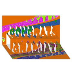Colorful Wave Orange Abstract Congrats Graduate 3D Greeting Card (8x4)