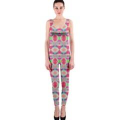 Pretty Pink Shapes Pattern OnePiece Catsuit