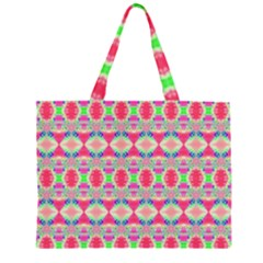 Pretty Pink Shapes Pattern Large Tote Bag