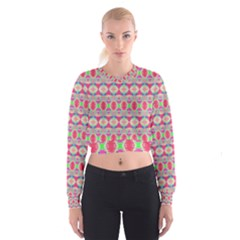 Pretty Pink Shapes Pattern Women s Cropped Sweatshirt