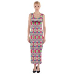Pretty Pink Shapes Pattern Fitted Maxi Dress