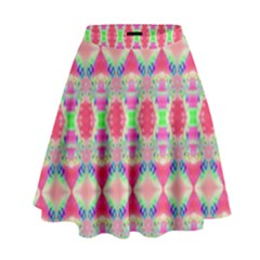 Pretty Pink Shapes Pattern High Waist Skirt