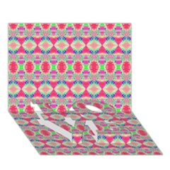 Pretty Pink Shapes Pattern LOVE Bottom 3D Greeting Card (7x5)
