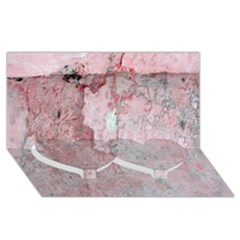 Coral Pink Abstract Background Texture Twin Heart Bottom 3D Greeting Card (8x4)