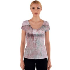 Coral Pink Abstract Background Texture Women s V-Neck Cap Sleeve Top