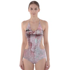 Coral Pink Abstract Background Texture Cut-Out One Piece Swimsuit