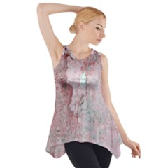 Coral Pink Abstract Background Texture Side Drop Tank Tunic