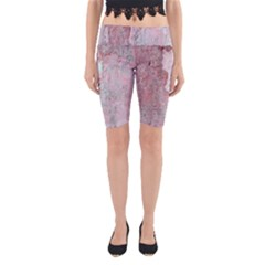 Coral Pink Abstract Background Texture Yoga Cropped Leggings