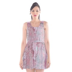 Coral Pink Abstract Background Texture Scoop Neck Skater Dress