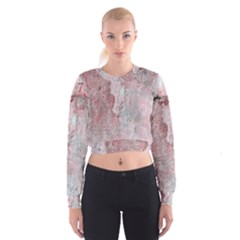 Coral Pink Abstract Background Texture Women s Cropped Sweatshirt