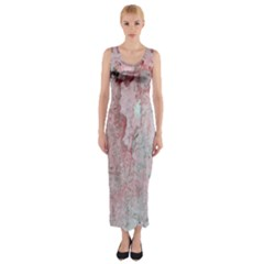 Coral Pink Abstract Background Texture Fitted Maxi Dress