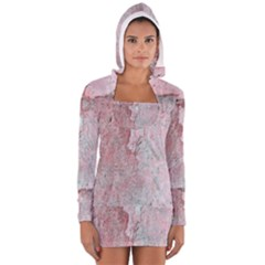 Coral Pink Abstract Background Texture Women s Long Sleeve Hooded T-shirt
