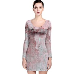 Coral Pink Abstract Background Texture Long Sleeve Velvet Bodycon Dress
