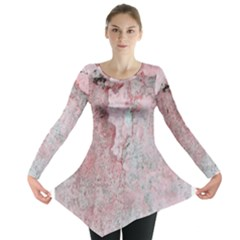 Coral Pink Abstract Background Texture Long Sleeve Tunic