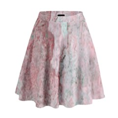Coral Pink Abstract Background Texture High Waist Skirt