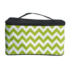 Spring Green & White Zigzag Pattern Cosmetic Storage Case
