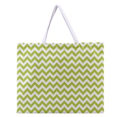 Spring Green & White Zigzag Pattern Zipper Large Tote Bag