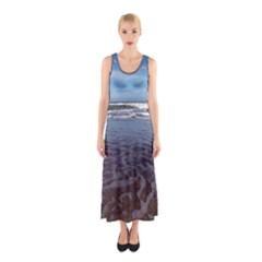 Ocean Surf Beach Waves Sleeveless Maxi Dress