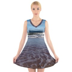 Ocean Surf Beach Waves V Neck Sleeveless Skater Dress