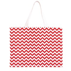 Poppy Red & White Zigzag Pattern Zipper Large Tote Bag