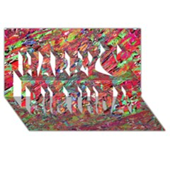 Expressive Abstract Grunge Happy Birthday 3D Greeting Card (8x4)