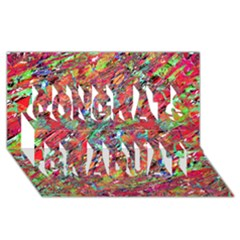 Expressive Abstract Grunge Congrats Graduate 3D Greeting Card (8x4)