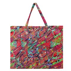 Expressive Abstract Grunge Zipper Large Tote Bag