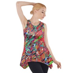 Expressive Abstract Grunge Side Drop Tank Tunic