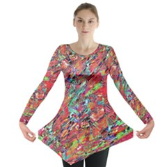 Expressive Abstract Grunge Long Sleeve Tunic