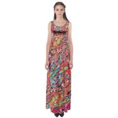 Expressive Abstract Grunge Empire Waist Maxi Dress