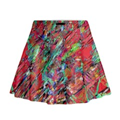 Expressive Abstract Grunge Mini Flare Skirt