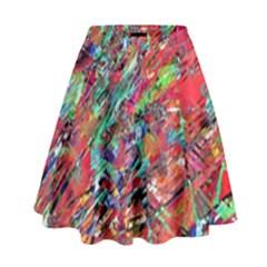 Expressive Abstract Grunge High Waist Skirt