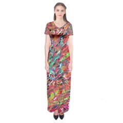 Expressive Abstract Grunge Short Sleeve Maxi Dress
