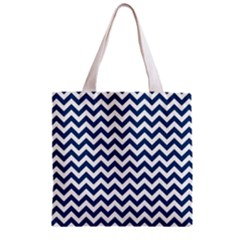 Navy Blue & White Zigzag Pattern Zipper Grocery Tote Bag