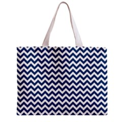 Navy Blue & White Zigzag Pattern Zipper Mini Tote Bag
