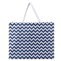Navy Blue & White Zigzag Pattern Zipper Large Tote Bag