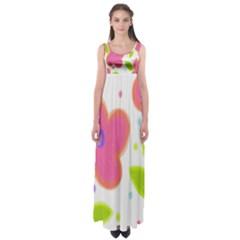 Pink Floral Print Empire Waist Maxi Dress
