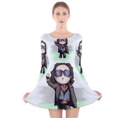 Breakfast Plush Long Sleeve Velvet Skater Dress