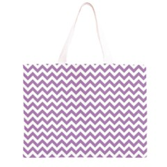Lilac Purple & White Zigzag Pattern Zipper Large Tote Bag