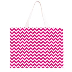 Hot Pink & White Zigzag Pattern Zipper Large Tote Bag