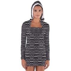 Modern Zebra Pattern Women s Long Sleeve Hooded T-shirt