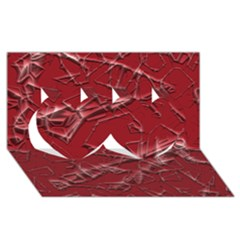 Thorny Abstract,red Twin Hearts 3D Greeting Card (8x4)