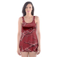 Thorny Abstract,red Skater Dress Swimsuit