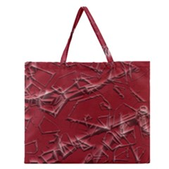 Thorny Abstract,red Zipper Large Tote Bag