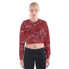 Thorny Abstract,red Women s Cropped Sweatshirt