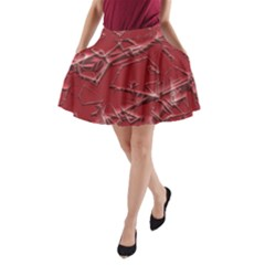 Thorny Abstract,red A-Line Pocket Skirt