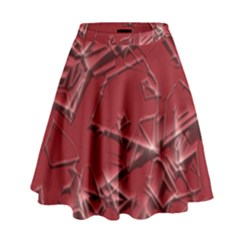 Thorny Abstract,red High Waist Skirt