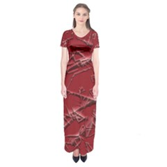 Thorny Abstract,red Short Sleeve Maxi Dress