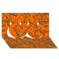 Thorny Abstract, Orange Twin Hearts 3D Greeting Card (8x4)